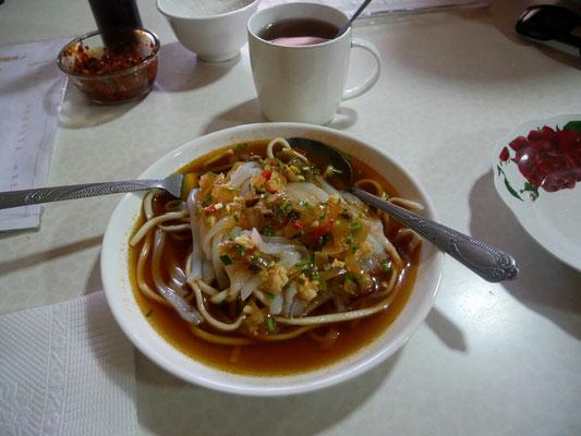 Découverte culinaire n°2, l'ashlyanfu, spécialité dungan, pâtes en sauce/soupe froide épicée