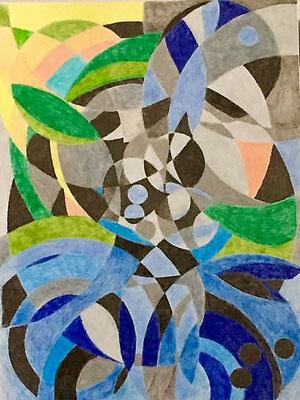 Der Tanz, Farb-& Bleistifte auf Zeichenpapier 36x48 cm, Originalbild von Lucia Moulin-Gallego, 2018
