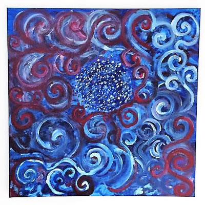 Blue, Acrylfarben auf Keilrahmen 70x70cm, Originalbild von Lucia Moulin-Gallego, 2018
