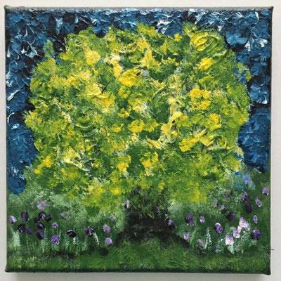 Sommerbaum, Acrylfarben auf Keilrahmen 15x15 cm, Originalbild von Lucia Moulin-Gallego, 2018