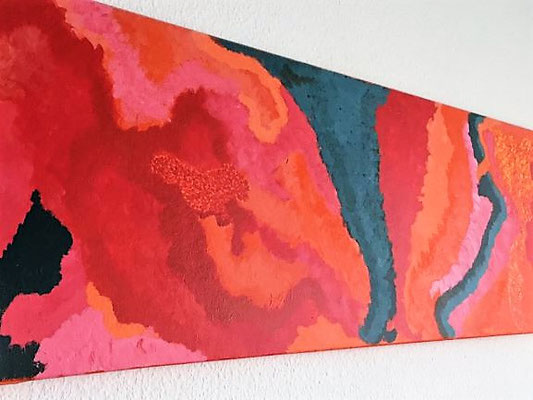 Lava, Acrylfarben auf Keilrahmen 120x40 cm, Originalbild von Lucia Moulin-Gallego, 2008