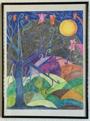 Sternenbaum klein, Farbstifte und Wachskreide auf Zeichenpaper, Originalbild von Lucia Moulin-Gallego, 2019