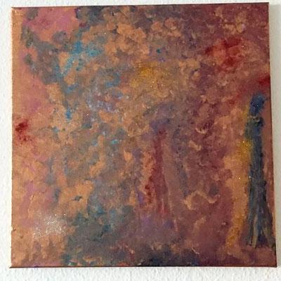 Übergang, Acryfarben auf Keilrahmen 40x40 cm, Originalbild von Lucia Moulin-Gallego, 2018