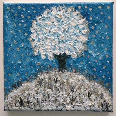 Schneebaum, Acrylfarben auf Keilrahmen 15x15 cm, Originalbild von Lucia Moulin-Gallego, 2018