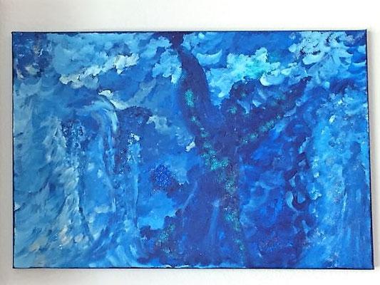 Engel, Acrylfarben auf Keilrahmen 60x40 cm, Originalbild von Lucia Moulin-Gallego, 2018