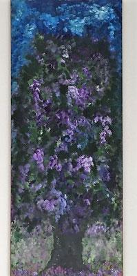 Lila Blüten, Acrylfarben auf Keilrahmen 40x100 cm, Originalbild von Lucia Moulin-Gallego, 2018