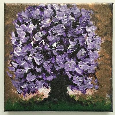 Lila Baum, Acrylfarben auf Keilrahmen 15x15 cm, Originalbild von Lucia Moulin-Gallego, 2018/Verkauft