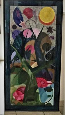 Sternenbaum, Acrylfarben und Bleisteift auf Zeichenpapier 50x100 cm, Originalbild von Lucia Moulin-Gallego, 2019