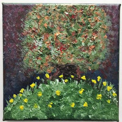 Baum in Abenddämmerung, Acrylfarben auf Keilrahmen 15x15 cm, Originalbild von Lucia Moulin-Gallego, 2018