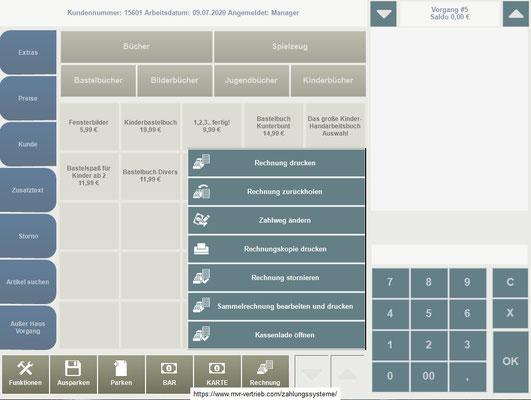 Kassensoftware Rechnungsfunktionen