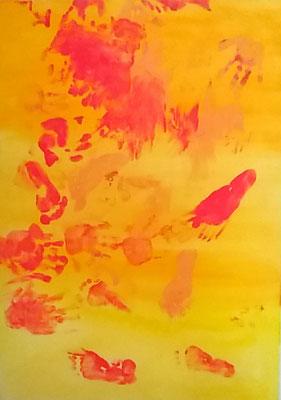 Mutter Kind Kunst - Acryl/Fingerfarbe