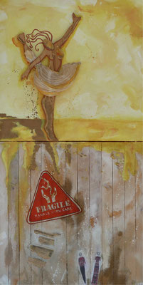 Fragile handle with care 2015 Oil,wood,paper, gold on canvas,wood 121 x60 cm- available