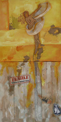 Fragile Xtremos 2015 Oil, wood, paper, gold on canvas,wood 121 x60 cm- available