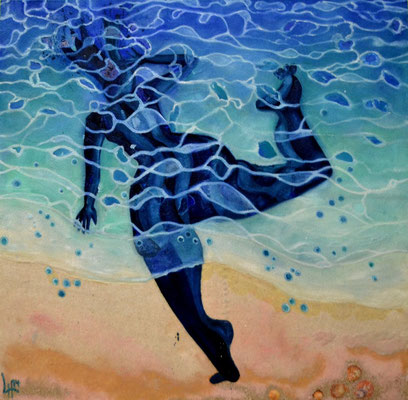 Refreshed reflected sea shadow 3 pm 2014 Oil, sand on canvas 150x150cm available Abu Dhabi Art Hub