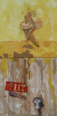 Fragile on Step 2015 Oil,wood, paper, gold on canvas,wood panel 121 x60 cm available