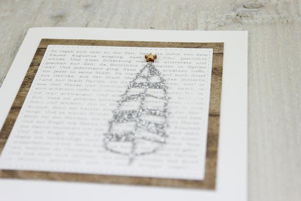 Weihnachtskarte, Tannenbaum, Holz, Grußkarte
