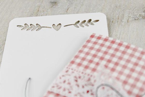 Valentinstag, Kärtchen, Grußkarte, Herzchen, vichykaro rosa-weiß