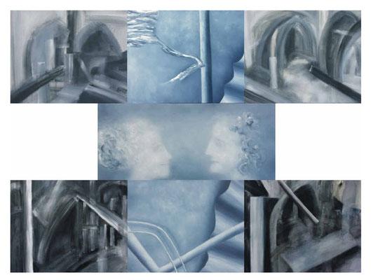 Transfer 7-teilig Acryl/Öl/Lwd. 210 x 165cm 2008