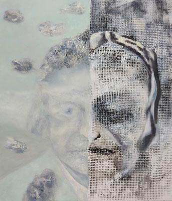 Verweißte Köpfe I  Acryl/Lwd. 80 x 95 cm 2020
