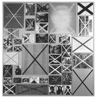 X-Mal 42-teilig Öl/Lwd./Text/Karton/Kopien 190 x 185 cm 1997
