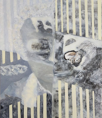 Verweißte Köpfe II  Acryl/Lwd. 80 x 95 cm 2020
