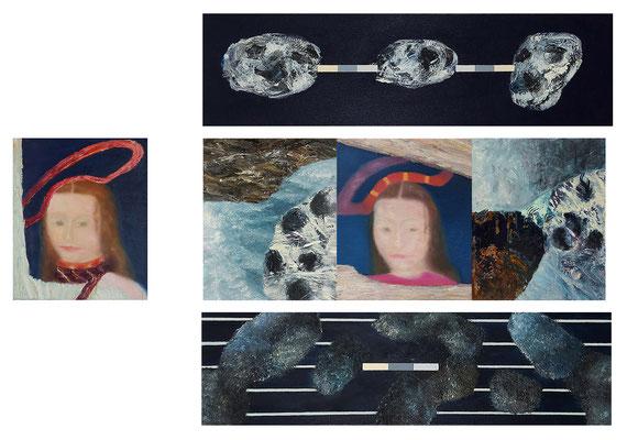Cranach in the cloud 6-teilig Acryl Öl /Lwd. 125x80cm 2004 / 2021