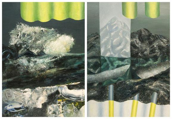Fracking  2-teilig  Acryl / Lwd. 190 x 125 cm 2012-2016