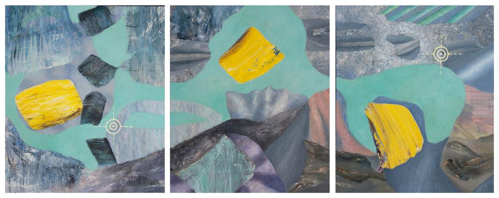 Sondierung II 3-teilig II Acryl/Lwd. 240 x 100 cm 2017