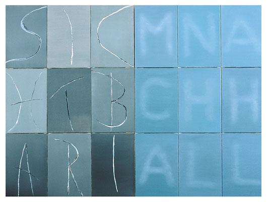 Sichtbar im Nachhall 18-teilig Acryl/Öl/Lwd. 180 x 135cm 2006