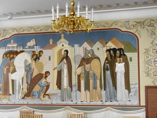St Serge en fresque sur les murs de la cantine