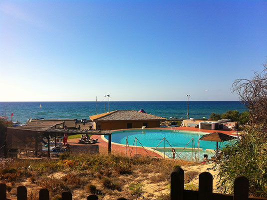 A public swimming pool next to the beach, costs about 5 eur for entry