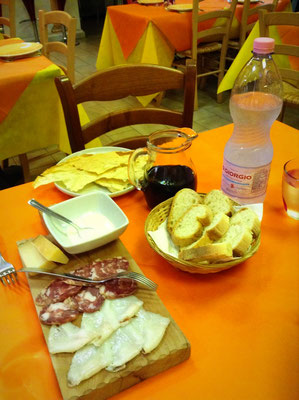Choice of typical local produced antipasti in Sardinia