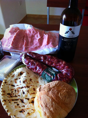 Typical sardinian ingredients and wine