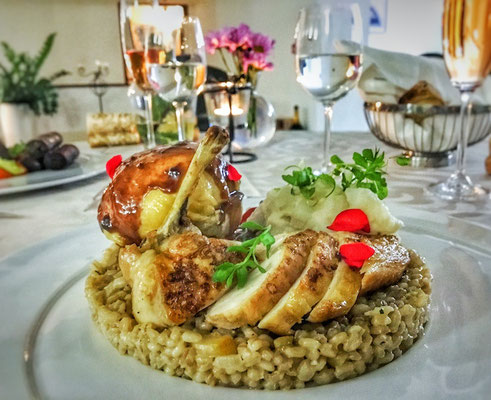 Corn fed chicken with liver and wheat groats_restauracia pod hradom