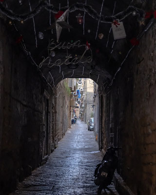 A tunel on the street in Naples in Italy
