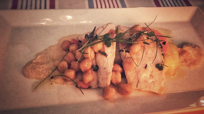 Seabass with chickpeas