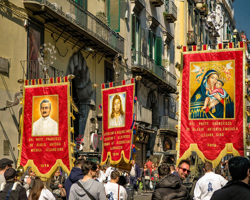 Religious March in Naples Italy