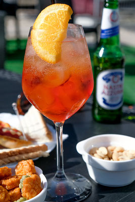 Enjoying Aperol Spritz in Naples Italy