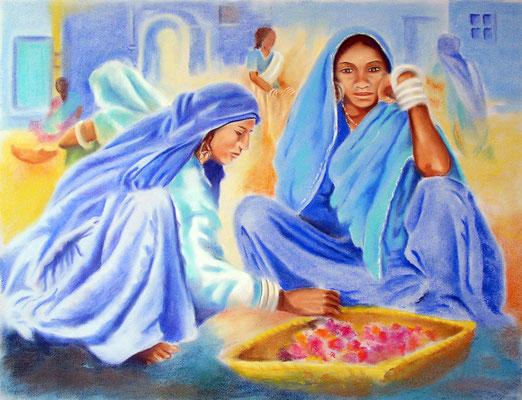 Femmes aux fleurs -pastel 50x65- Inde