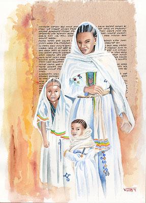 TIMKET -aquarelle31X41- Ethiopie-Dans leur plus beaux atours, les familles fêtent l'épiphanie, principale fête religieuse de l'Ethiopie orthodoxe