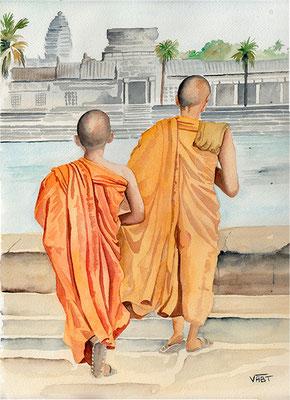 Angkor Vat Cambodge - aquarelle 31X41