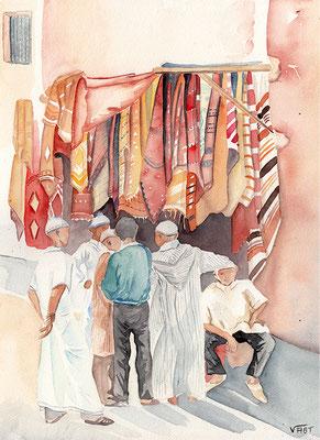 MARCHANDS DE TAPIS -aquarelle 31x41 - Dans les souks de Marrakech