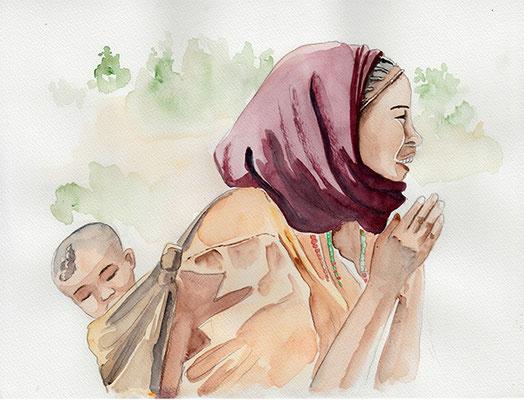Ethiopie femme et son enfant dans le massif du Siemens