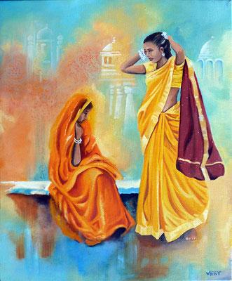 REFLETS -huile 38x46 - Inde