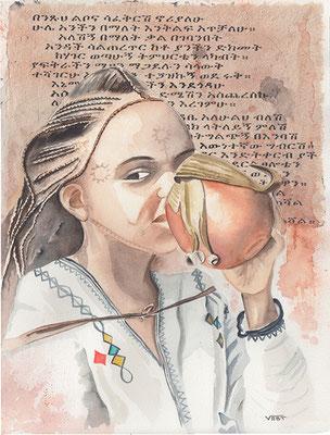 ABYSSINIE fillette à la fête du Timket de Gondar   aquarelle31X41 -