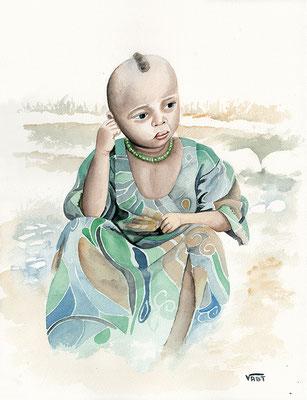 Fillette Amhara  -aquarelle 31x41-Ethopie