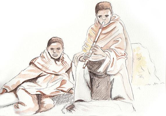 Ethiopie jeunes bergers dans les montagne du Siemens