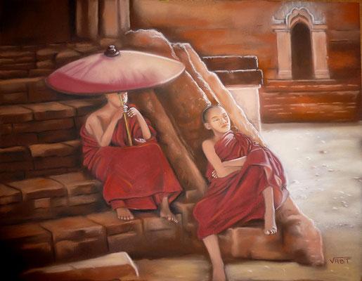 pastel Birmanie bonzes 65X50