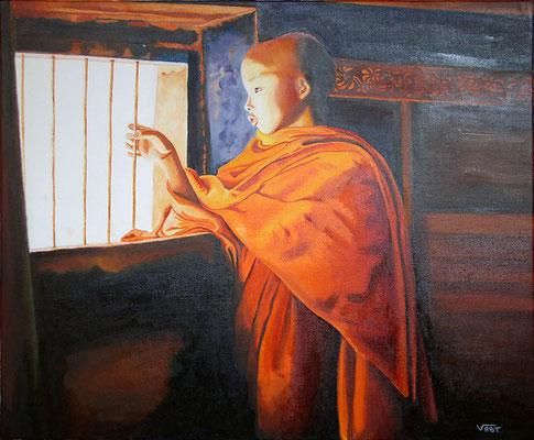 LIBERTE - huile sur toile 55X46 - Myanmar