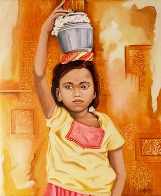 HANUMAN -huile 46x38- offrande au Dieu singe à Hampi Inde